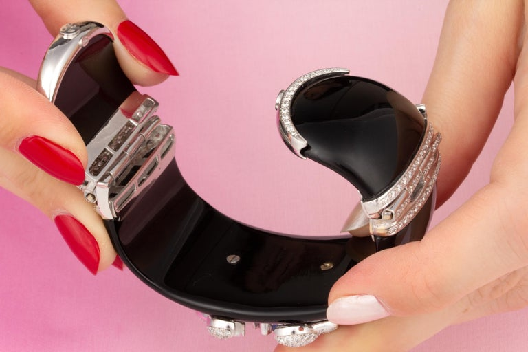 Ella Gafter Cancer Zodiac Diamond Cuff Bracelet  In New Condition For Sale In New York, NY