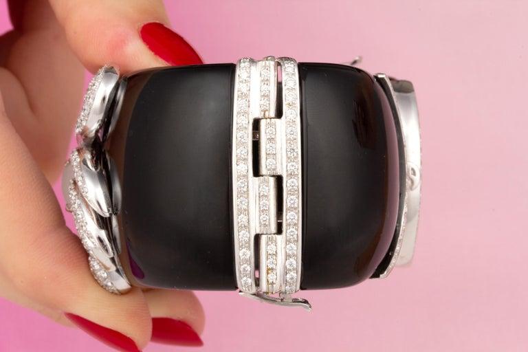 Women's or Men's Ella Gafter Cancer Zodiac Diamond Cuff Bracelet  For Sale
