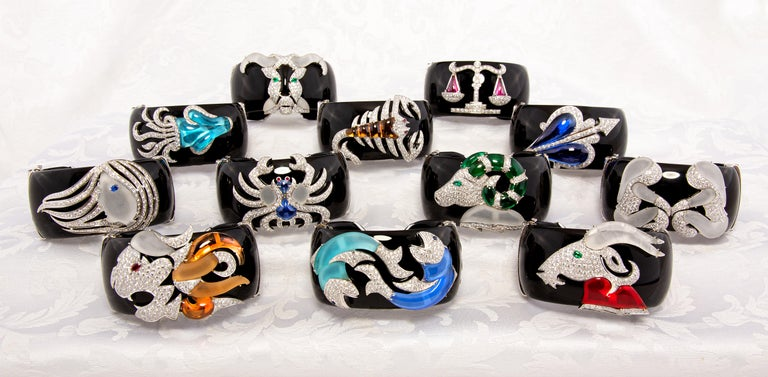 Ella Gafter Cancer Zodiac Diamond Cuff Bracelet  For Sale 3