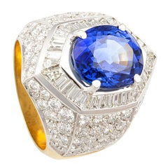 Ella Gafter Ceylon Blue Sapphire Diamond Cocktail Ring