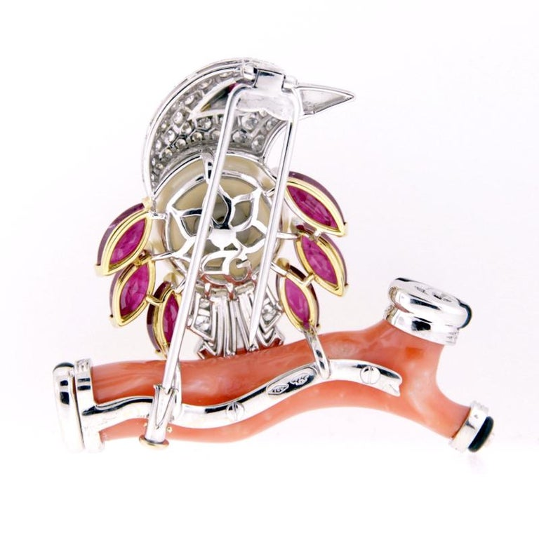 Women's Ella Gafter Coral Pearl Ruby Diamond Bird Brooch Pin For Sale