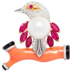 Ella Gafter Bird Ruby Diamond Brooch