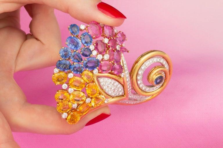 Ella Gafter Cornucopia Sapphire Diamond Brooch Pin For Sale 4