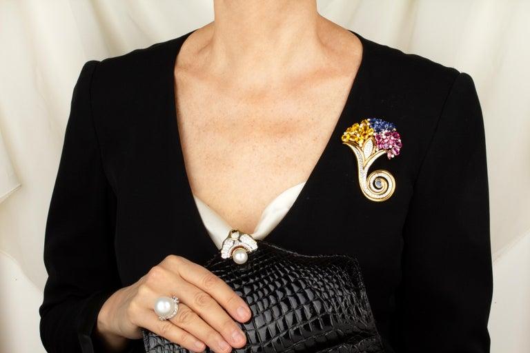 Artist Ella Gafter Cornucopia Sapphire Diamond Brooch Pin For Sale