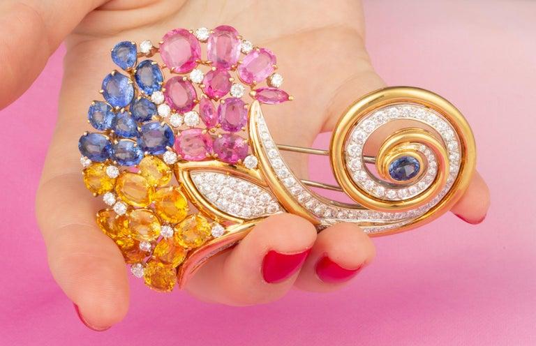 Women's Ella Gafter Cornucopia Sapphire Diamond Brooch Pin For Sale