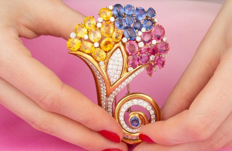 Ella Gafter Cornucopia Sapphire Diamond Brooch Pin For Sale 1