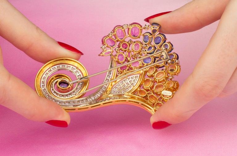 Ella Gafter Cornucopia Sapphire Diamond Brooch Pin For Sale 2