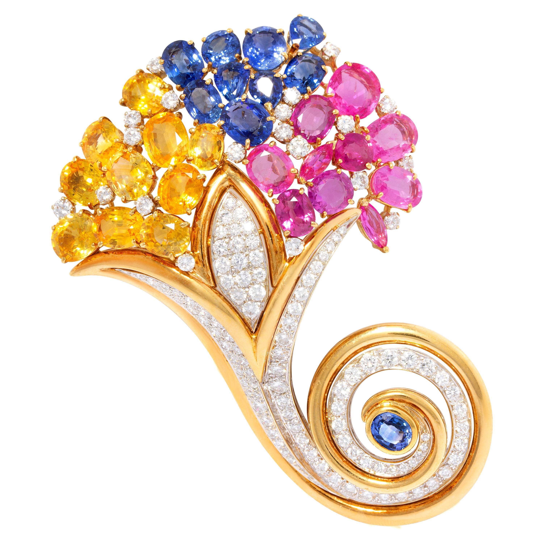 Ella Gafter Sapphire Diamond Cornucopia Brooch Pin