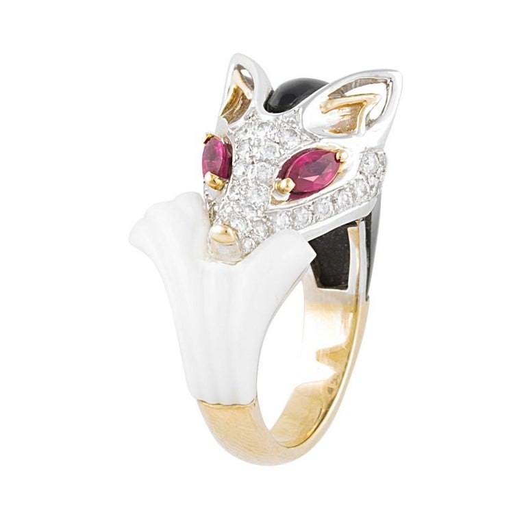 a93848e6b Ella Gafter Diamond Fox Ring Ruby For Sale at 1stdibs