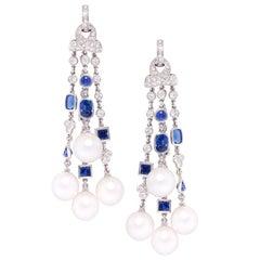 Ella Gafter Diamond Blue Sapphire Pearl Chandelier Earrings