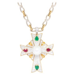 Ella Gafter Diamond Cross Pendant Brooch Necklace