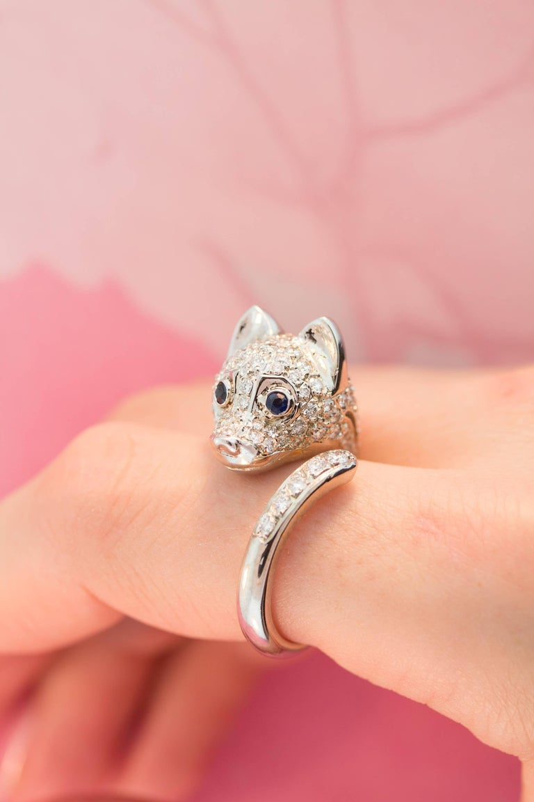 Ella Gafter Diamond Fox Ring For Sale 4