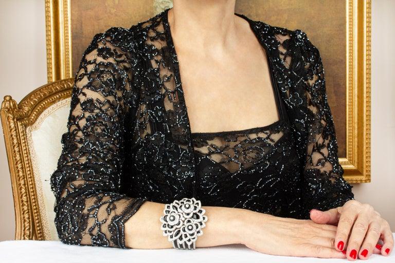 Ella Gafter Diamond Onyx Cuff Bracelet For Sale 4