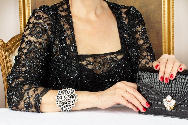 Ella Gafter Diamond Onyx Cuff Bracelet For Sale 5