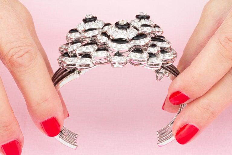 Brilliant Cut Ella Gafter Diamond Onyx Cuff Bracelet For Sale