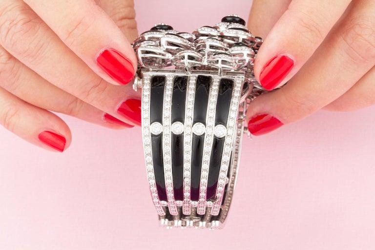 Women's Ella Gafter Diamond Onyx Cuff Bracelet For Sale