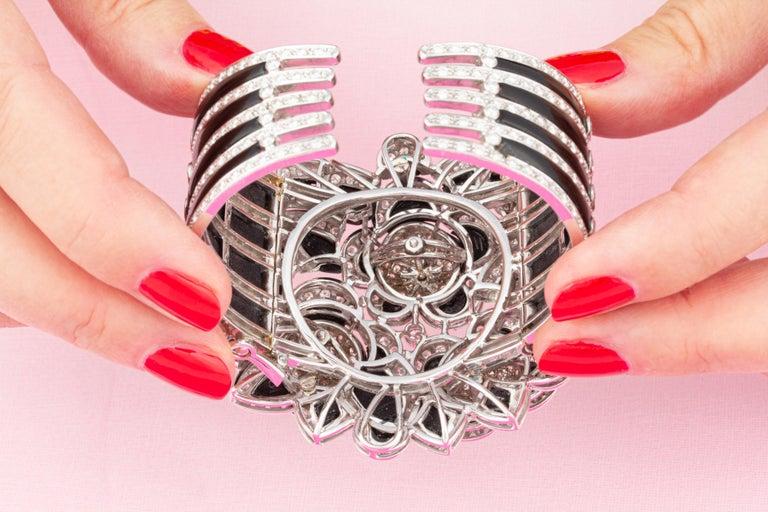 Ella Gafter Diamond Onyx Cuff Bracelet For Sale 1