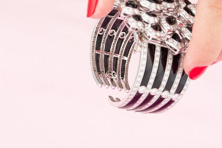 Ella Gafter Diamond Onyx Cuff Bracelet For Sale 2