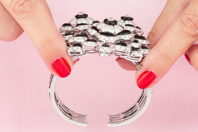 Ella Gafter Diamond Onyx Cuff Bracelet For Sale 3