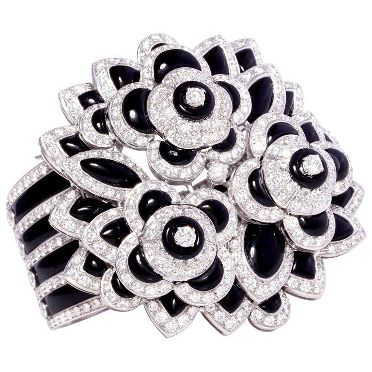 Ella Gafter Diamond Onyx Cuff Bracelet For Sale