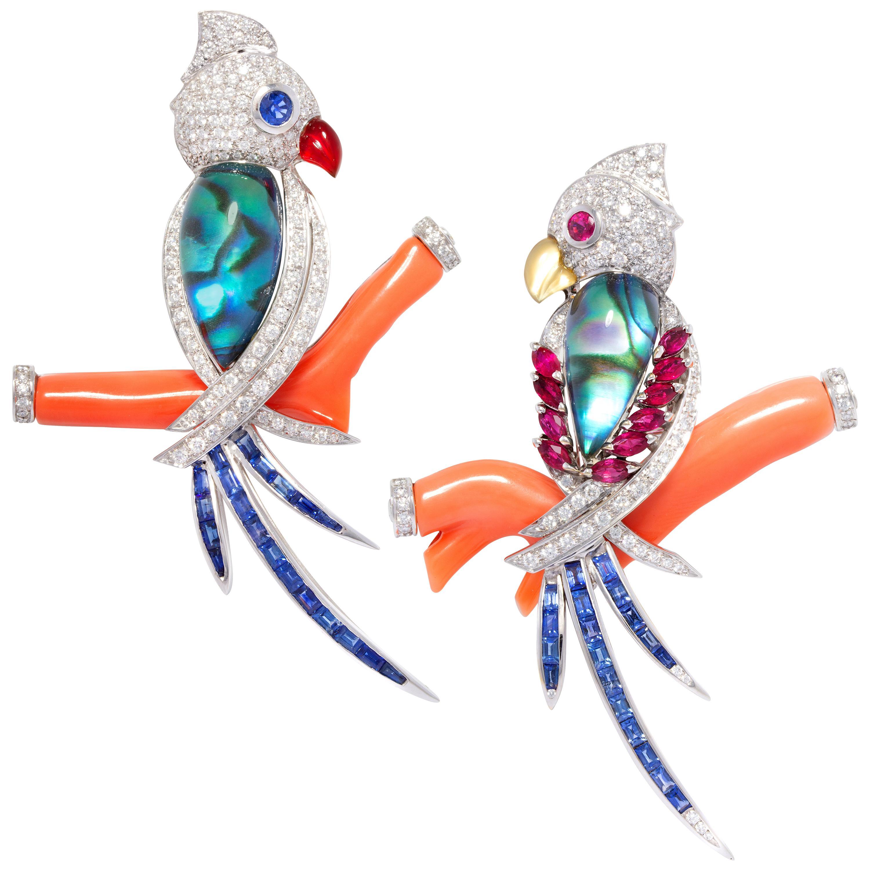 Ella Gafter Parrot Bird Diamond Brooch Pin