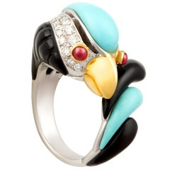 Ella Gafter Diamond Parrot Ring Turquoise Onyx
