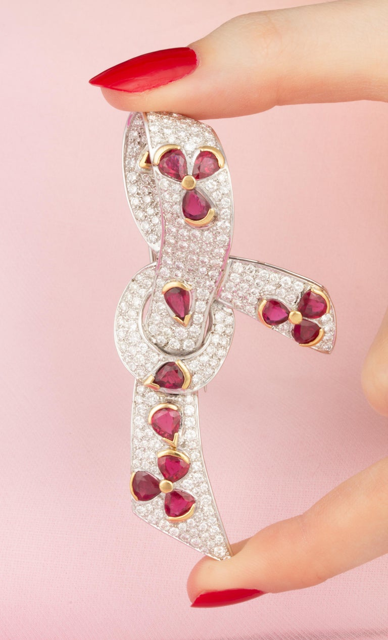 Artist Ella Gafter Diamond Ruby Bow Brooch Pin For Sale