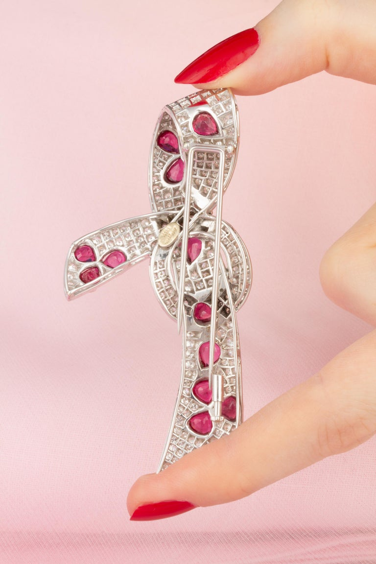 Ella Gafter Diamond Ruby Bow Brooch Pin For Sale 1