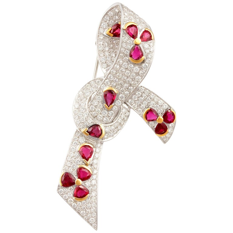 Ella Gafter Diamond Ruby Bow Brooch Pin For Sale