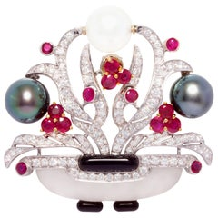 Ella Gafter Diamond Ruby Pearl Pin Brooch