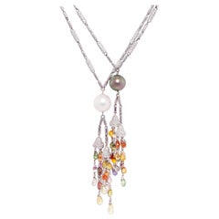 Ella Gafter Diamond Sapphire Pearl Lariat Necklace Set