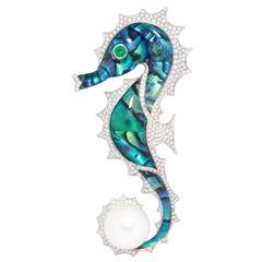 Ella Gafter Diamond Seahorse Brooch Pin