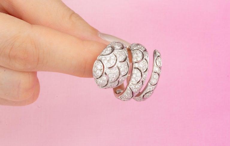 Ella Gafter Diamond Snake Cocktail Ring For Sale 7