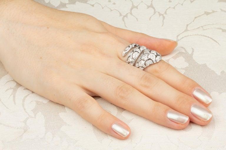 Women's or Men's Ella Gafter Diamond Snake Cocktail Ring For Sale