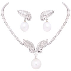 Ella Gafter Diamond South Sea Pearl Necklace Earrings Set
