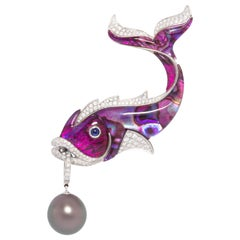 Ella Gafter Diamond 17mm Pearl Fish Pin Brooch