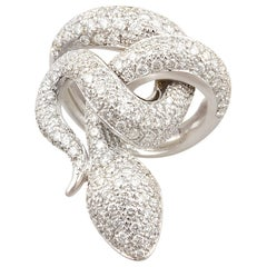 Ella Gafter Diamond White Gold Snake Ring