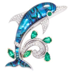 Ella Gafter Dolphin Emerald Diamond Brooch Pin