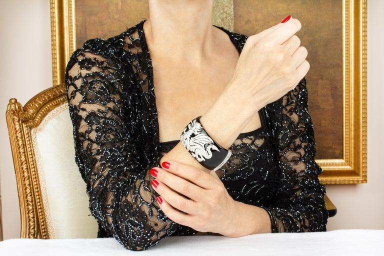Artist Ella Gafter Dragon Diamond Cuff Bracelet For Sale