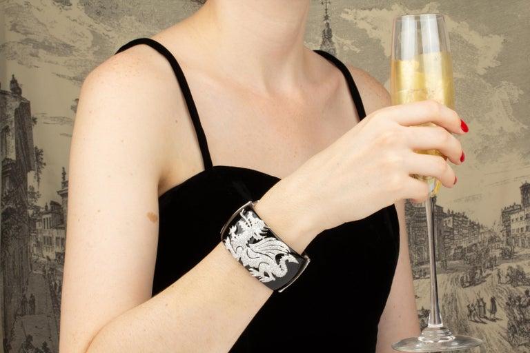Brilliant Cut Ella Gafter Dragon Diamond Cuff Bracelet For Sale