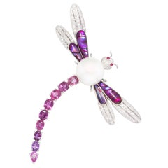 Ella Gafter Dragonfly Brooch Pin with Sapphire and Diamonds