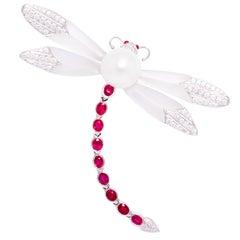 Ella Gafter Dragonfly Ruby Diamonds Brooch Pin