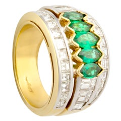 Ella Gafter Marquise Emerald Diamond Band Ring