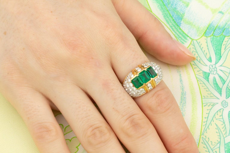 Artist Ella Gafter Emerald and Diamond Band Ring For Sale
