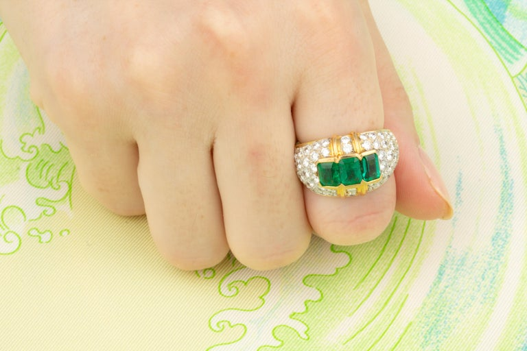 Ella Gafter Emerald and Diamond Band Ring In New Condition For Sale In New York, NY