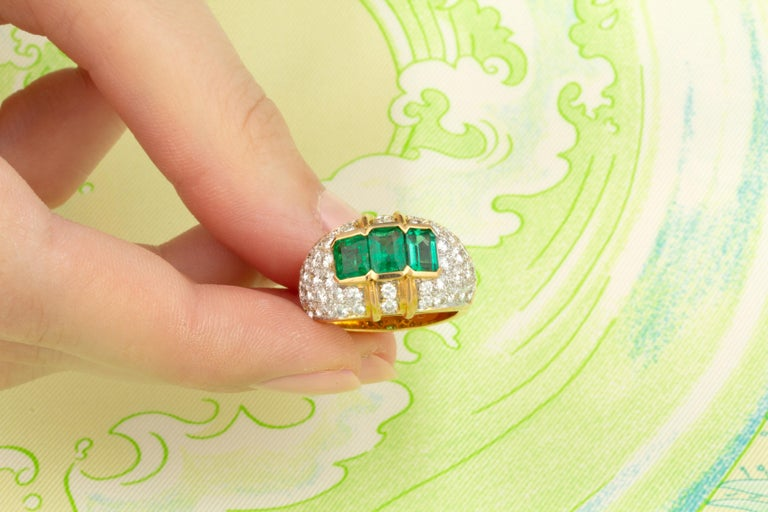 Women's Ella Gafter Emerald and Diamond Band Ring For Sale