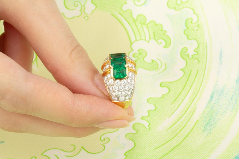 Ella Gafter Emerald and Diamond Band Ring For Sale 1