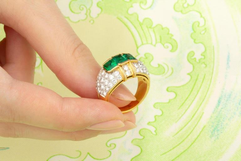 Ella Gafter Emerald and Diamond Band Ring For Sale 2
