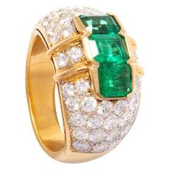 Ella Gafter Emerald and Diamond Band Ring