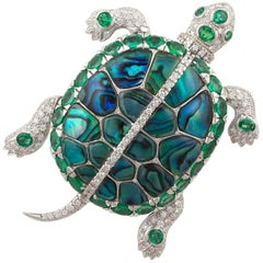 Ella Gafter Emerald and Diamond Turtle Brooch Pin